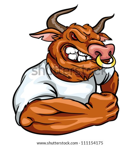 Bull mascot team logo design angry bull isolated