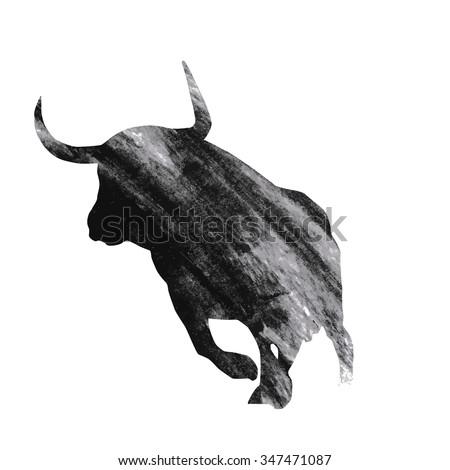 Bull on white background, vector illustration