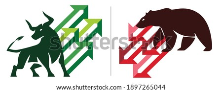 Bull or bullish run; Bear or bearish market trend in crypto currency or stocks. Trade exchange, green up or red down arrows graph. Cryptocurrency price chart. Global economy crash or boom. Vector Photo stock ©