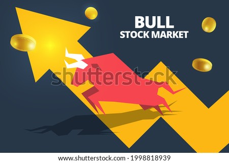 Bull or bullish run icon with growth arrow graph and bars. Concepts for share market of Bull and bear stock market exchange or finance. Vector of Bull market uptrend stock market and trading chart.