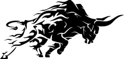 Bull Raging Flame Run, Abstract Silhouette