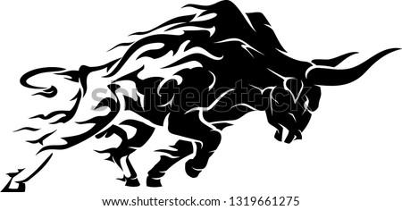 bull raging run