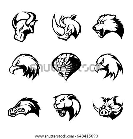 Bull, rhino, wolf, eagle, cobra, alligator, panther, boar head isolated vector logo concept set. Modern badge mascot design. Premium quality wild animal, bird, snake t-shirt tee print illustration.