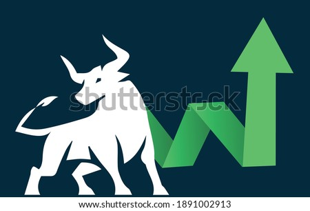 Bull run or bullish market trend in crypto currency or stocks. Trade exchange, green up arrow graph for increase in rates. Cryptocurrency price chart and blockchain technology. Global economy boom.