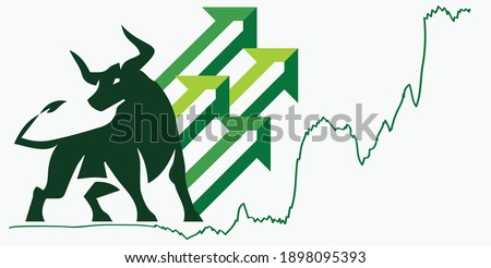 Bull run or bullish market trend in crypto currency or stocks. Trade exchange, green up arrow graph for increase in rates. Cryptocurrency price profit chart and blockchain. Global economy boom.