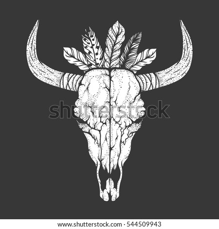 bull skull with feathers native ...