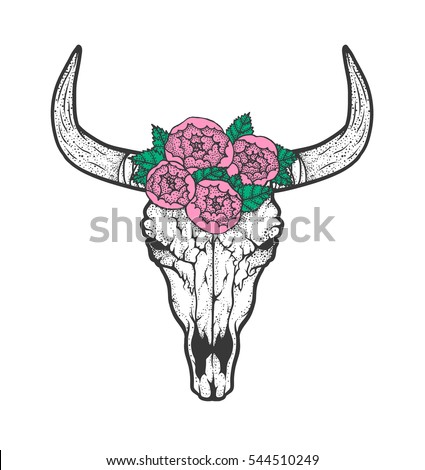 bull skull with roses native