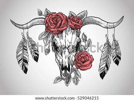 bull skull with roses on her