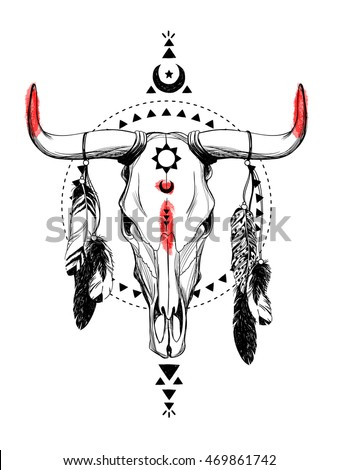 Bull skulls with feathers and ethnic symbols. Native American Indian talisman. Hand drawn hipster illustration on white background. Boho design, t-shirt print, tattoo art, coloring book for adults.