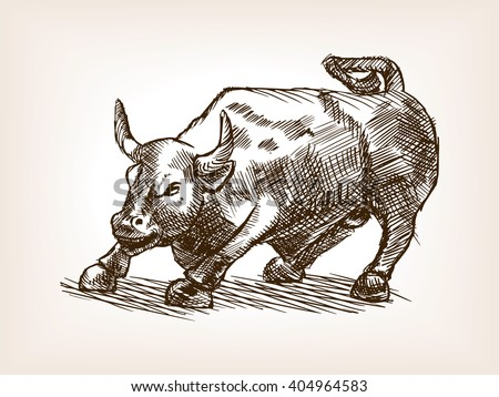 bull statue sketch style vector