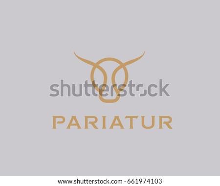 bull taurus vector logo linear