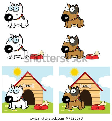 Bull Terrier Dog Different Color. Vector Collection