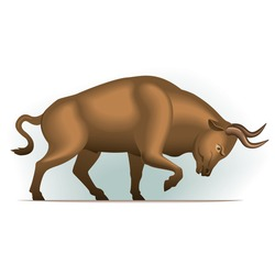 Bull vector illustration in color, financial theme ; isolated on background.