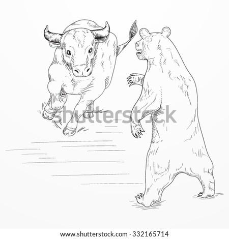 Bull versus bear. Financial markets roles. EPS 10 vector hand drawn illustration