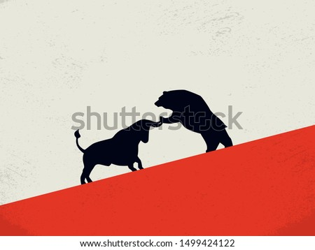 Bull vs bear stock exchange market vector concept with animal icons fighting. Symbol of bearish and bullish trends on markets, financial investment and profits vs losses. Eps10 illustration. Photo stock ©