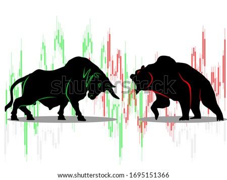 bull vs bear symbol of stock market trend on white background Illustration Photo stock ©