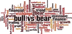 Bull vs bear word cloud concept. Collage made of words about bull vs bear. Vector illustration