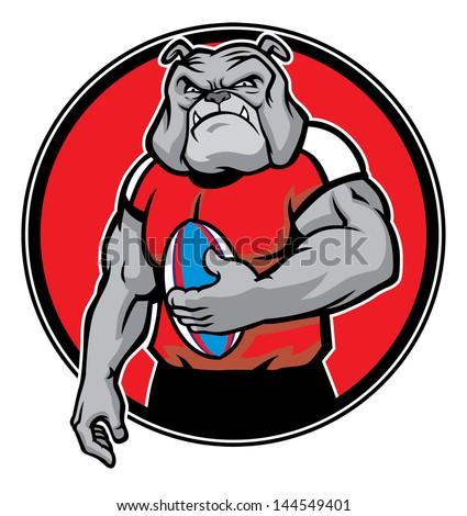 bulldog as rugby football player #144549401