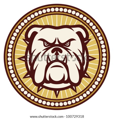 Bulldog head (angry bulldog, bulldog vector illustration, bulldog badge, bulldog symbol)