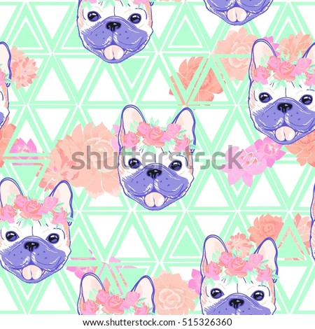 bulldog pattern   vector