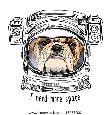 bulldog portrait in a astronaut'