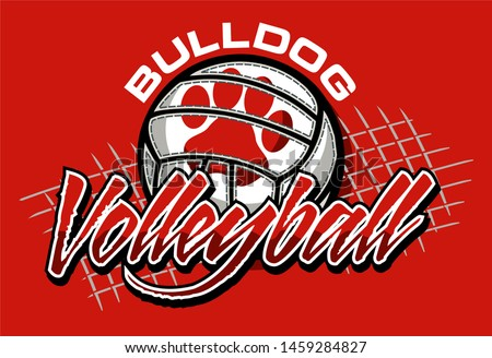 bulldog volleyball team design with ball and net for school, college or league