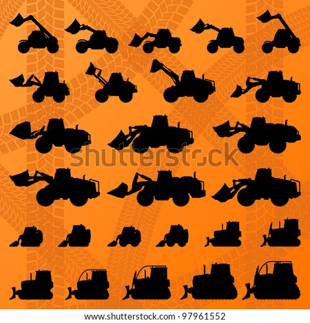 Bulldozer detailed editable silhouettes illustration collection background vector