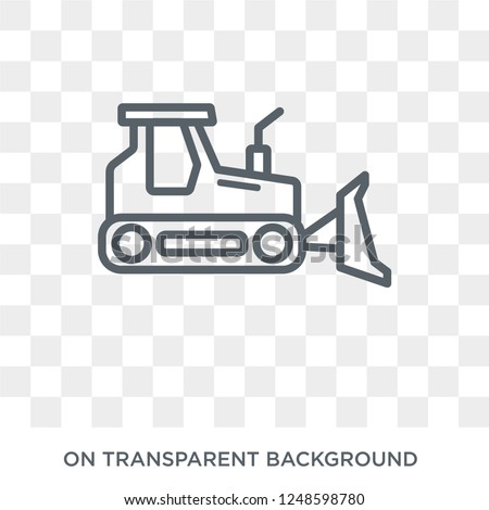 Bulldozer icon. Trendy flat vector Bulldozer icon on transparent background from Construction collection. High quality filled Bulldozer symbol use for web and mobile