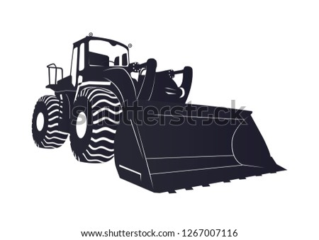 Bulldozer logo, bulldozer icon positive negative