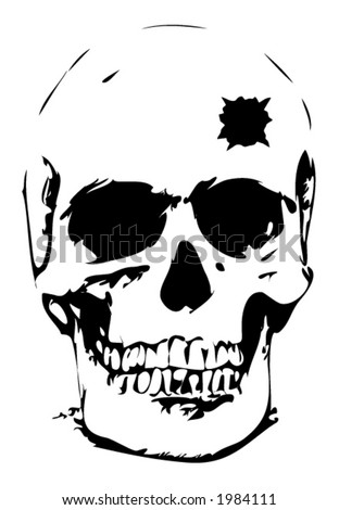 Bullet hole skull - vector illustration - stock vector