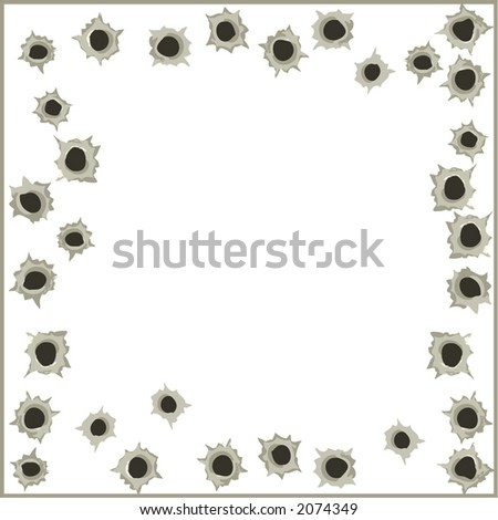 Bullet hole wall background with empty place for text- vector illustration