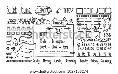 Bullet journal hand drawn elements for notebook, diary. Cute Hand drawn Doodle Banners isolated on white. Numbers and days of week: Sunday, Monday, Tuesday, Wednesday, Thursday, Friday, Saturday. ストックフォト ©