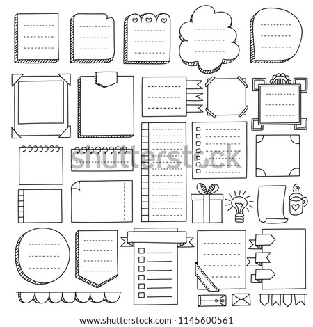Bullet journal hand drawn vector elements for notebook, diary and planner. Doodle banners isolated on white background. Notes, list, frames and others elements.