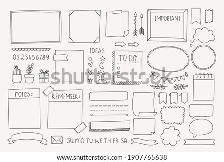 Bullet journal hand drawn vector elements for planner, notebook, diary. Doodle banners isolated on white background. Notes, list, frames, dividers, design elements. ストックフォト ©