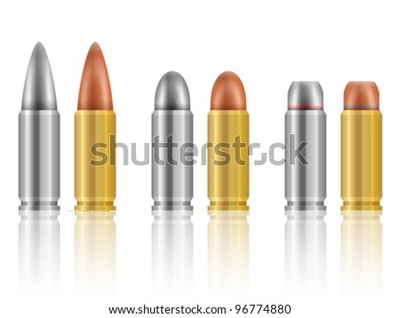 bullet set isolated on a white