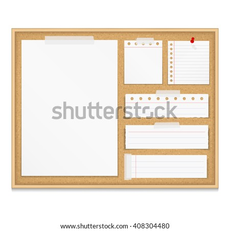 Bulletin board with paper attached by tape and push pin, corkboard with paper notes, vector eps10 illustration Foto d'archivio ©