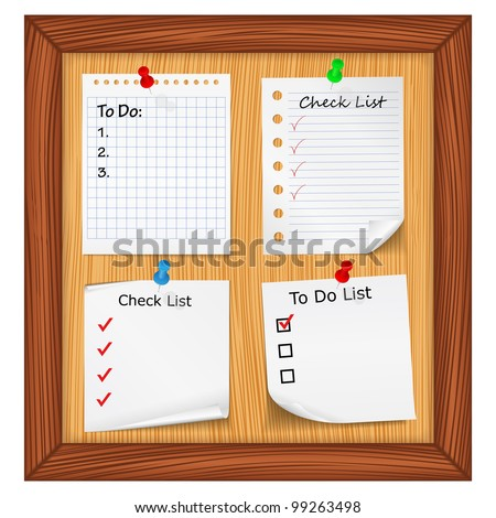 Bulletin board with ToDo List and Check List, vector eps10 illustration