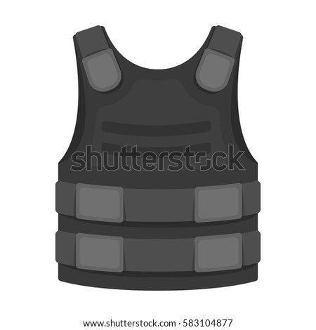 Bulletproof vest icon in monochrome style isolated on white background. Police symbol stock vector illustration.