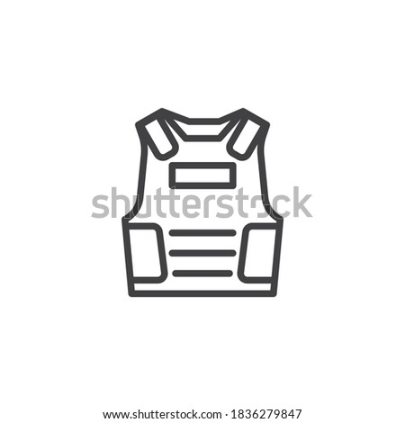 Bulletproof vest line icon. linear style sign for mobile concept and web design. Armor vest outline vector icon. Symbol, logo illustration. Vector graphics Stock photo ©