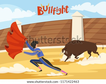 Bullfighting background. Spain traditional performance with matador and bull. Dance of the death. Bull and matador, spanish toreador, corrida bullfight, vector illustration