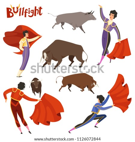 Bullfighting characters. Vector illustration of spanish corrida peoples. Bullfight and toreador, bull corrida, matador torero