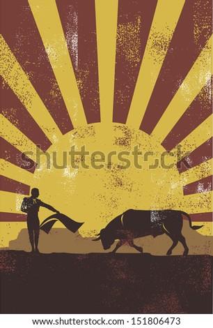 Bullfighting in Spain poster, vector