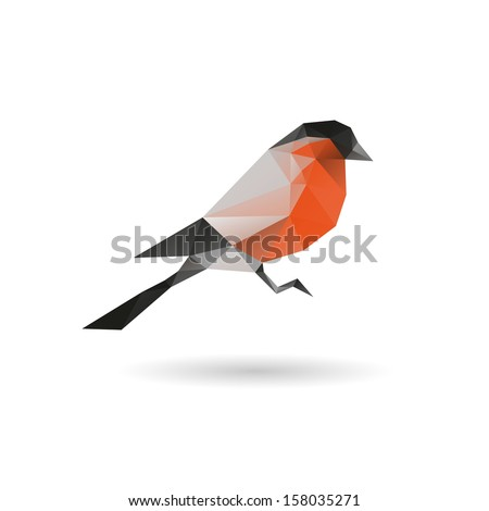 Bullfinch abstract  isolated on a white backgrounds, vector illustration