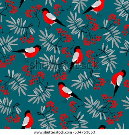 bullfinch birds seamless