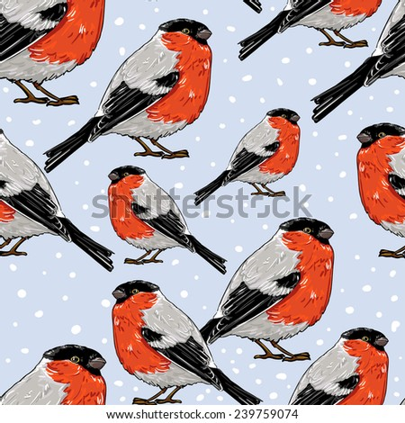 bullfinch, vector illustration bird, seamless