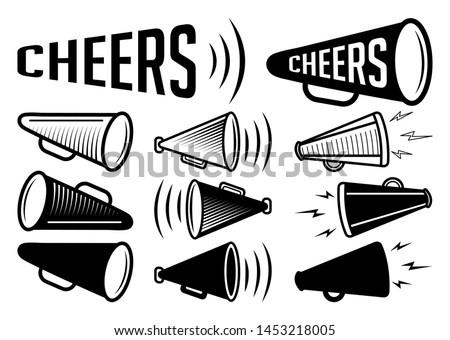 Bullhorn Icon |  Cheers Megaphone Bundle Vector Illustration Silhouette