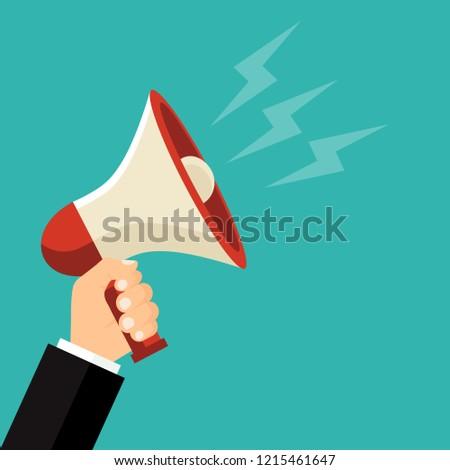 Bullhorn in hand . Megaphone. Vector illustration. Flat design for business financial marketing banking advertising web concept cartoon illustration.