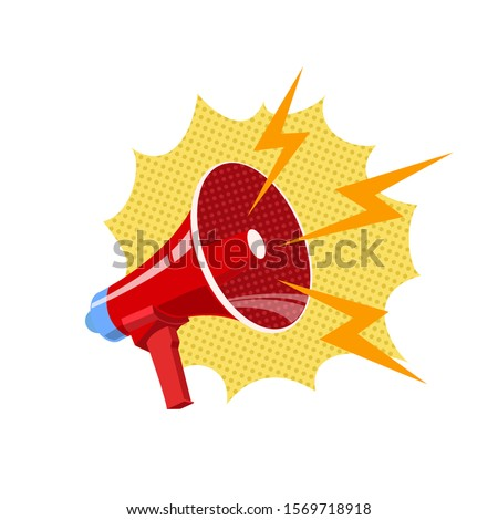 Bullhorn, red megaphone vector illustration in pop art style
