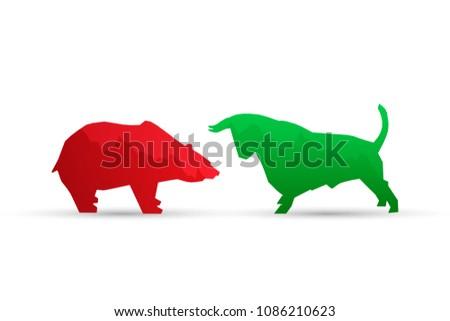 Bullish and Bearish symbols on stock market vector illustration.