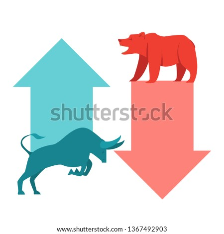 Bullish and Bearish symbols on stock market vector illustration. The symbol of the bear and the bull. The growing and falling market. Foto stock ©